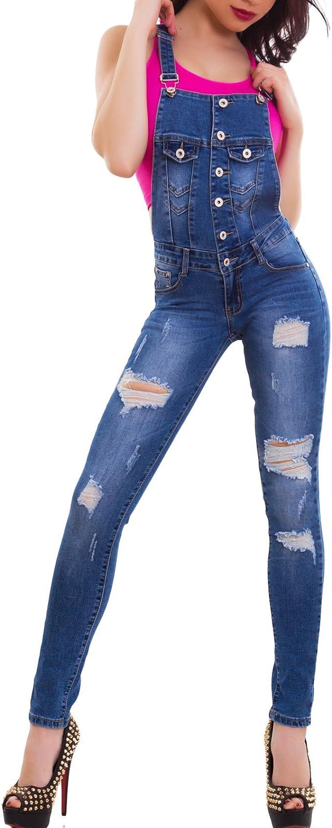 Tuta jeans nera donna elasticizzata aderente overall skinny smanicata nuova