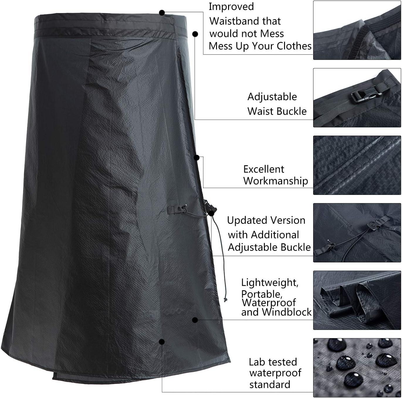 YANYODO Rain Skirt Waterproof Lightweight Rain Pants Breathable Windproof Raincoat Rainwear Liner for Cycling Riding Camping Hiking