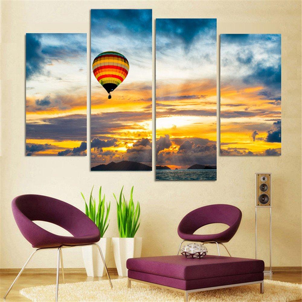 Amazon.com: 4 Piece Home Decor Oil Painting Hot Air Balloon HD Print ...