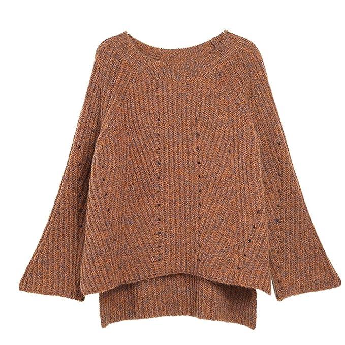 ZhiYuanAN Mujer Acampanados Manga Jersey De Punto Chic Hi-Low Dobladillo Suéter De Moda Diseño