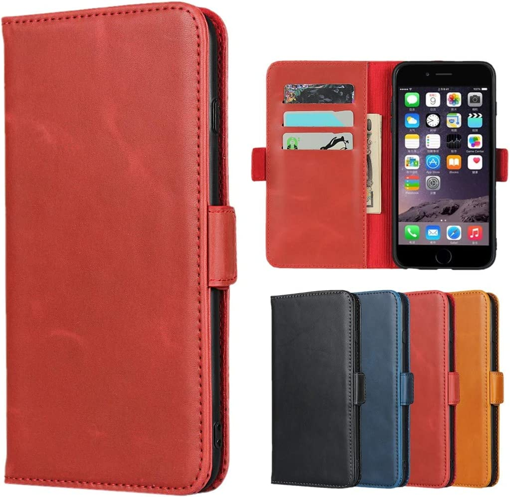 Sailortech for iPhone 6 Plus Premium Genuine Leather Case iPhone 6s Plus Flip Folio Cover with Kickstand Feature, Card Holder Buckle Protective Cover for iPhone 6+/6S+ Wallet Case (5.5