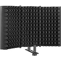 Escudo de aislamiento del micrófono, Panel plegable con reflector de espuma absorbente AGPtEK, Plegable, ajustable y…