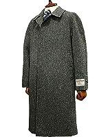 【 Harris Tweed / ハリスツイード 】スタンダード・ステンカラーコート (グレー×黒×ブルー系ヘリンボーン ) 9505-28