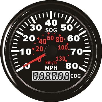 Velocímetro GPS impermeable de 0 – 130 km/h para marino con retroiluminación de 85