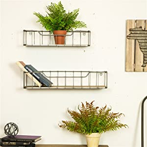 Glitzhome Floating Shelves Wall Mounted Set of 2 Rustic Wood Wall Storage Shelves Organizer Decor for Bedroom, Bathroom, Living Room, Kitchen, Office, Laundry Room