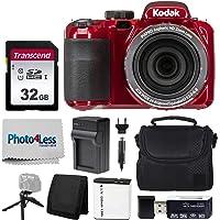 Kodak PIXPRO AZ421 Digital Camera (Red) + Point & Shoot Camera Case + Transcend 32GB SD Memory Card + Extra Battery…