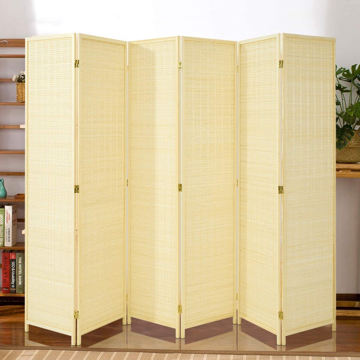 Esright 6 Panel Bamboo Room Divider, 6 Ft Tall Folding Privacy Screen Room Divider, Freestanding Partition Wall Dividers for Office,Bedroom, Beige