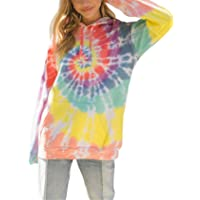 SZIVYSHI Long Sleeve Hooded Hoodie Colorful Contrast Color Tie Dye Gradient Color Pocket Sweatshirt Pullover T-Shirt Top