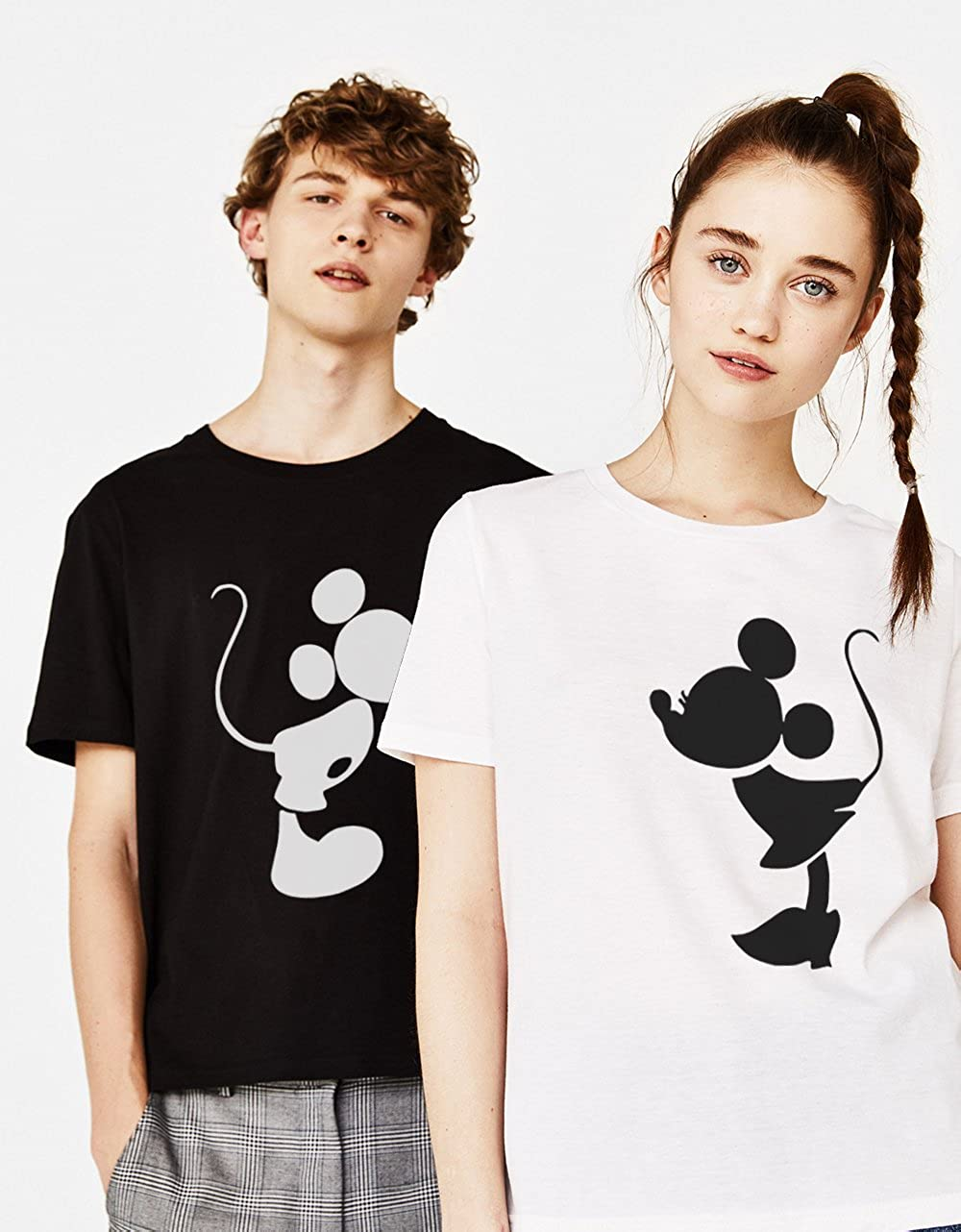 62bd690f2 Amazon.com: Couple Tshirt Mickey Minnie Shirts Matching Cute Cotton Tops  Valentine's Gift Tees: Clothing