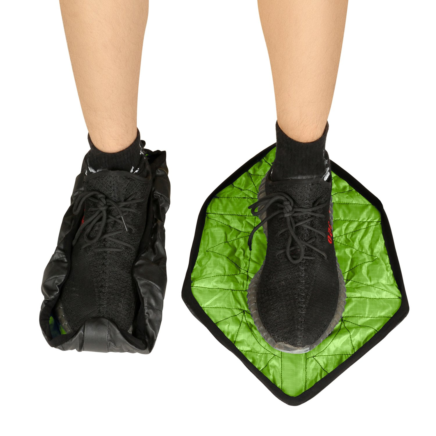 HK Shoe Covers Reusable Waterproof Automatic Boot Cover to Protect Floor Non Slip for Men Women Green Pair