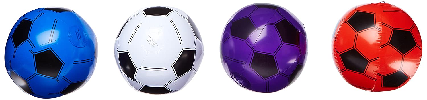 12 Inflatable Soccer Balls - Soccer Ball Inflates - 16'' Assorted Colors RN INSOC16