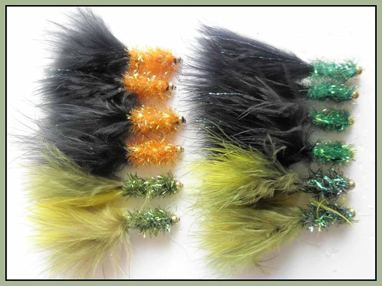 12 Goldhead-Canna da pesca Fritz, colore: nero/nero, colore: verde oliva, misura: 10 Troutflies UK np79