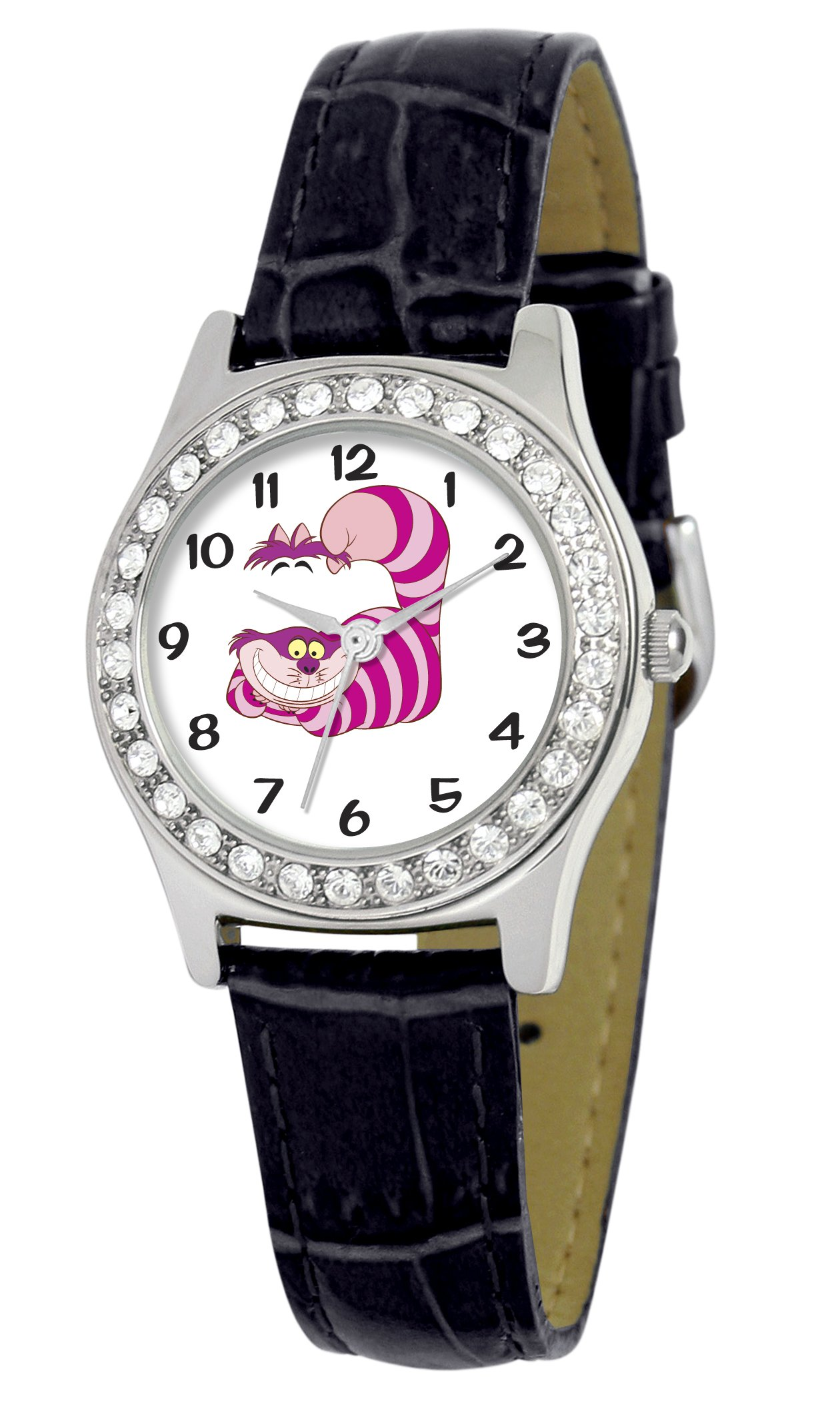 Disney Women's D1499S005 Queen Collection Cheshire Cat Black Leather Strap Watch