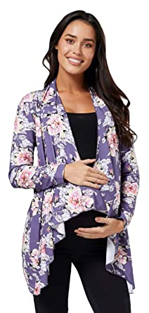 d34f804a797 Zeta Ville Womens Pregnancy Maternity Waterfall Jacket Cardigan 320c  (Graphite with Flowers