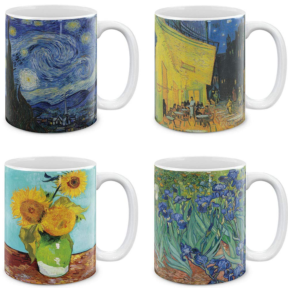 MUGBREW Coffee Mugs 4 Piece Set Vincent Van Gogh Paintings The Starry Night, Sunflowers, Irises, Cafe Terrace at Night, 11 Oz Gift Mugs by MUGBREW (Image #1)