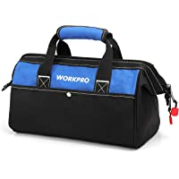 WORKPRO 13-inch Tool Bag, Wide Mouth Tool Tote Bag with Inside Pockets for Tool Storage