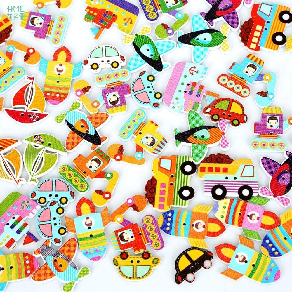 Maslin 50pcs//bag Mixed Color 2 holes Colorful Wood Sewing Painting Decoration Buttons Scrapbooking Car Ship Aircraft Pattern Color: Aircraft 31x30mm