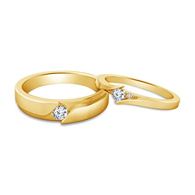12b919ce02 Buy atjewels Elegant Couple Ring in 14K Yellow Gold Plated on 925 Sterling  Silver White Zirconia MOTHER'S DAY SPECIAL OFFER Online at Low Prices in  India ...