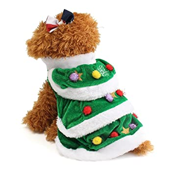 Abrigo de Perro Árbol de Navidad, Holacha Blusa Ropa de Mascota Lindo de erciopelo Terciopelo