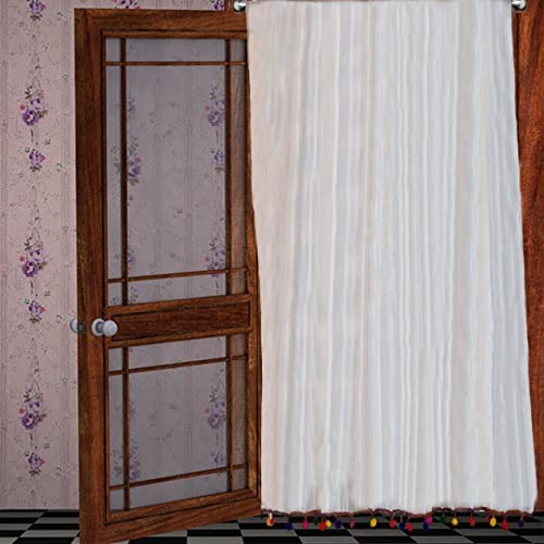 "Pair of Colorful PomPom White window sheer chiffon Curtains 40"" W X 84""H + 4"" Pocket"