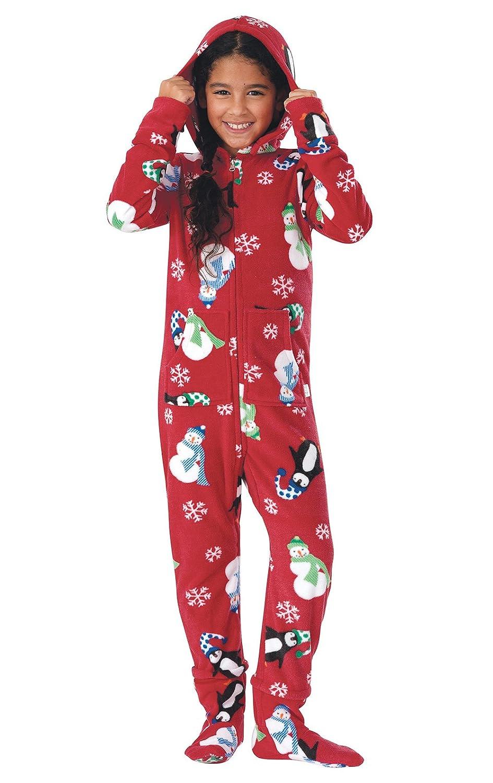 03524f1440 Amazon.com  PajamaGram Big Girls  Hoodie-Footie Fleece Onesie Pajamas   Clothing