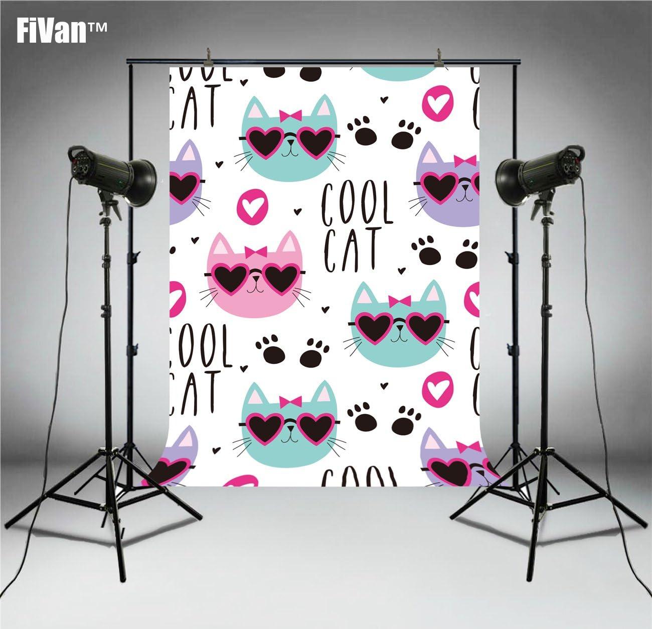 Fivan Cool Cat Cartoon Fotografie Hintergrund Fotohintergrund Für Neugeborene Babyparty Geburtstag Bilder Party Banner Dessert Tischdekoration