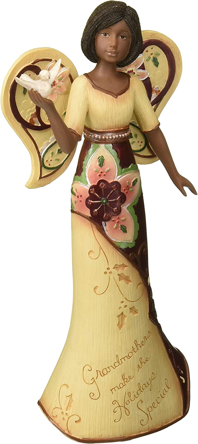 Perfect Paisley Holiday by Pavilion 76201 Ebony Angel Figurine Holding Dove, Grandmother Sentiment, 9-Inch Tall