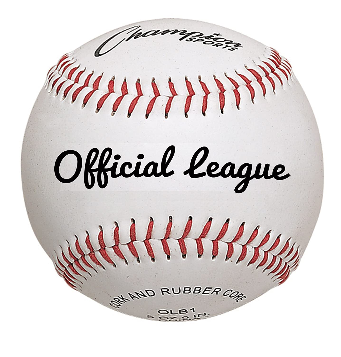 Champion Sports Major League Baseball (Pack of 12), White/Red OLBPRO