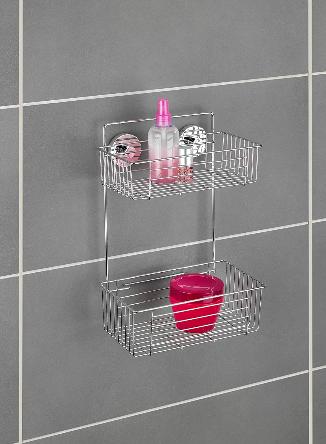 WENKO 20889100 Vacuum-Loc 2-Tier wall rack Bari fixing without drilling 10.2 x 15 x 6.7 inch Chrome Steel
