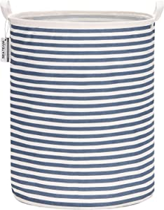 "Sea Team 19.7 Inches Large Sized Waterproof Coating Ramie Cotton Fabric Folding Laundry Hamper Bucket Cylindric Burlap Canvas Storage Basket (19.7"", Navy Blue & White Stripe)"