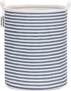 "Sea Team 19.7 Inches Large Sized Waterproof Coating Ramie Cotton Fabric Folding Laundry Hamper Bucket Cylindric Burlap Canvas Storage Basket (19.7"", Navy Blue & White Stripe)"