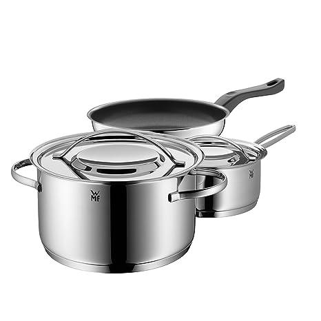 WMF Gala Set Batería de ollas, 3 Piezas, Apta para Todo Tipo de cocinas Incluso inducción, Acero Inoxidable, Ø20cm 3.3 l cazuela con Tapa Ø16cm (V ...