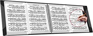 Sheet Music Folders Music Stand Accessories Music Binder 4 Pages Expand Spiral-Bound 10 Sleeves 40 Pockets