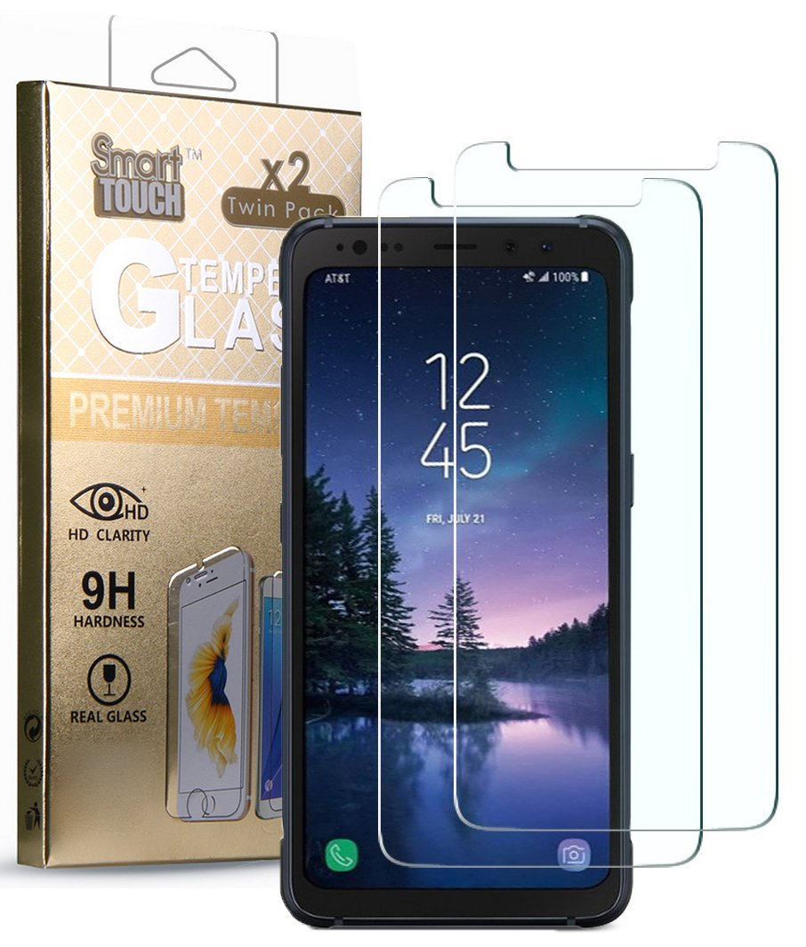 Galaxy S8 Active Tempered Glass, 2X HARD CLEAR SCREEN PROTECTOR CRACK SAVER FOR SAMSUNG GALAXY S8 ACTIVE SM-G892A