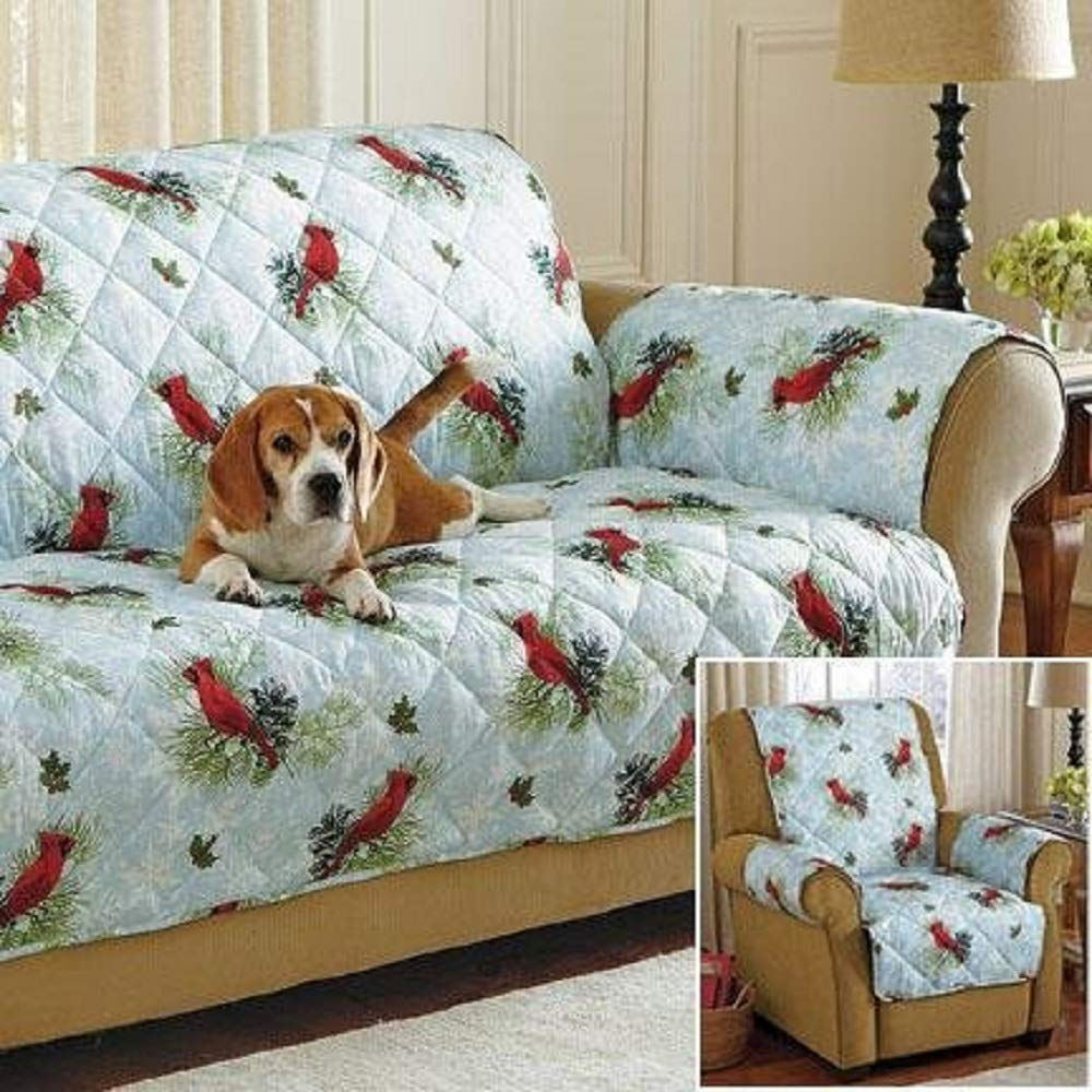 Waterproof w/Falling Snowflakes Design Print Sofa Bench Loveseat Cover Protector - Machine washable polyester - Recliner is 78.5'' Deep