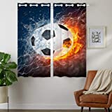 HommomH 42 x 63 inch Curtains (2 Panel) Grommet Top Darkening Blackout Room Soccer Flame Fire