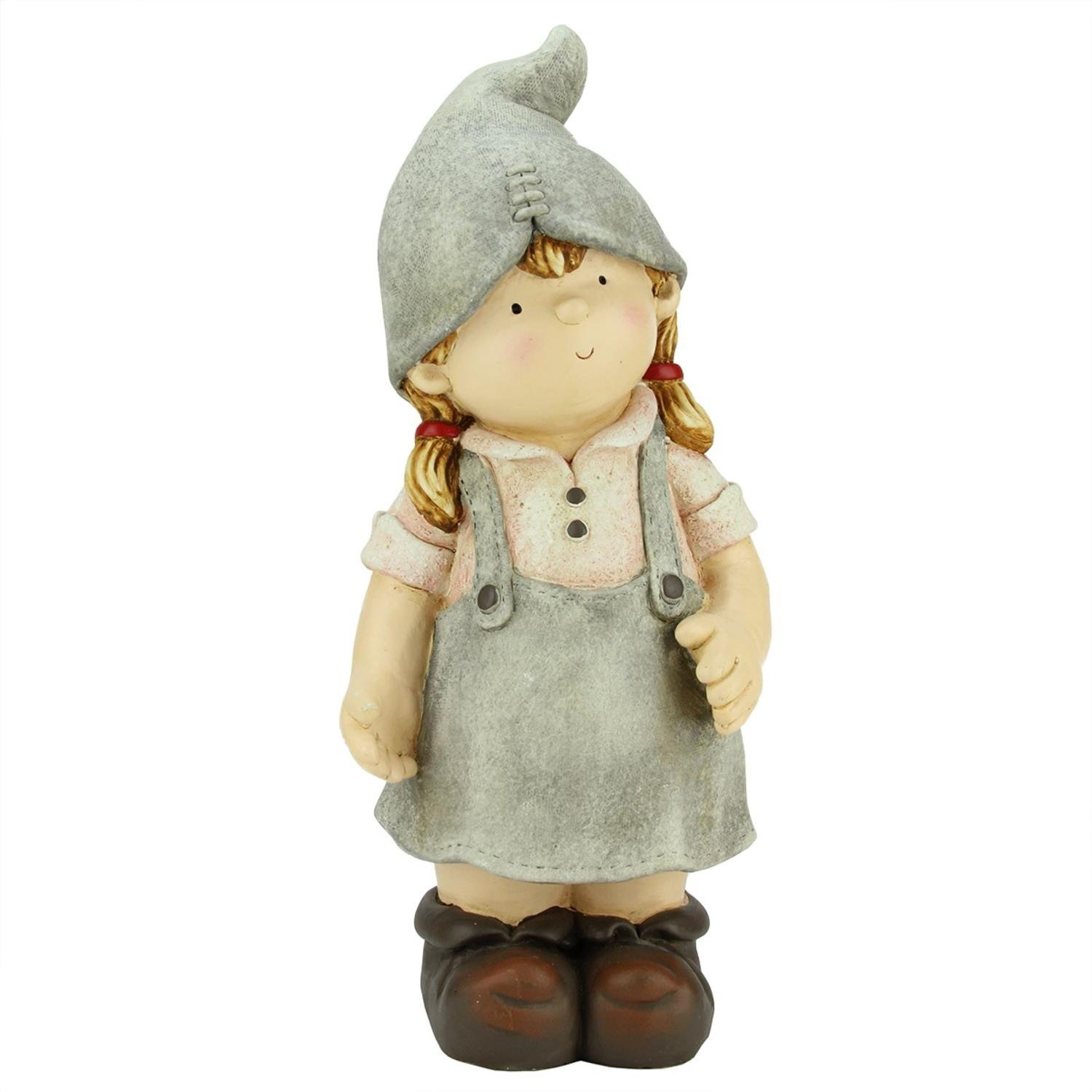 Northlight CB64942 Young Girl Gnome Daydreaming Spring Outdoor Patio Garden Statue Statuary and Fountains, 17.75'', Gray