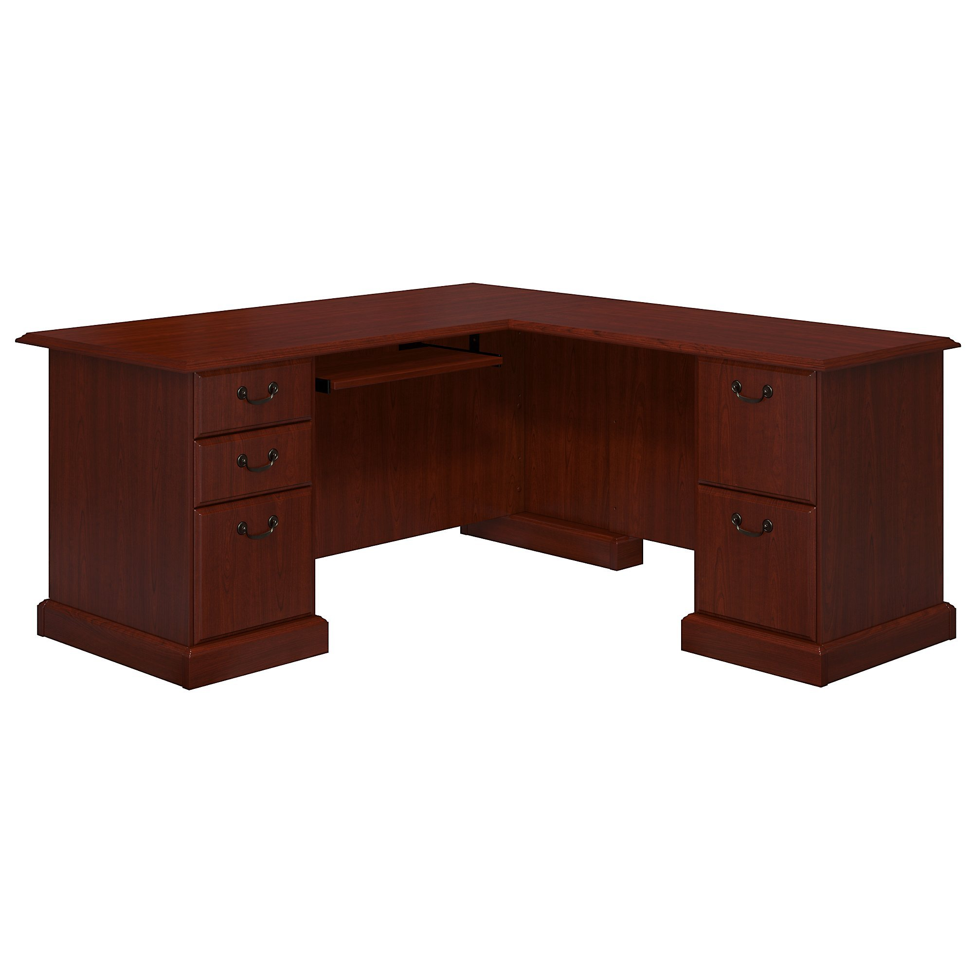 kathy ireland Office by Bush Furniture Bennington L Shaped Desk with Drawers in Harvest Cherry