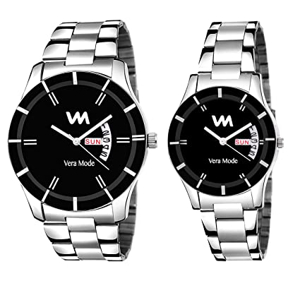 Quartz Analogue Black Dial Day and Date Men's and Women's Couples Watches