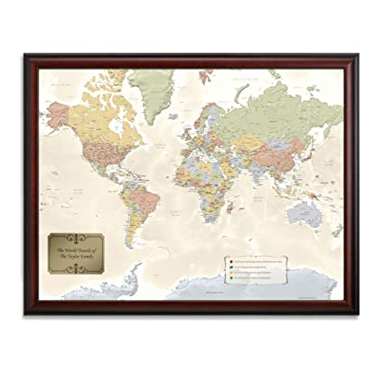 Amazon personalized world traveler framed map set with pins personalized world traveler framed map set with pins custom engraved crest up to 50 characters gumiabroncs Choice Image