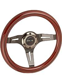 NRG Innovations ST-310BRB-BK Classic Dark Wood Grain Wheel (Black Line Inlay, 310mm, 3 spoke center in Black Chrome)