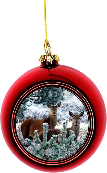 Jacks Outlet Deer In A Snowy Forest Red Bauble Christmas Ornament Ball Home Kitchen