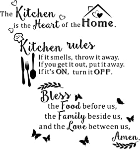 3 Pieces Kitchen Rules Quotes Wall Sticker The Kitchen Is The Heart Sticker Dinner Inspirational Sayings Decals Bless The Food Before Us Decors for Kitchen Dining Room Living Room Home Decoration