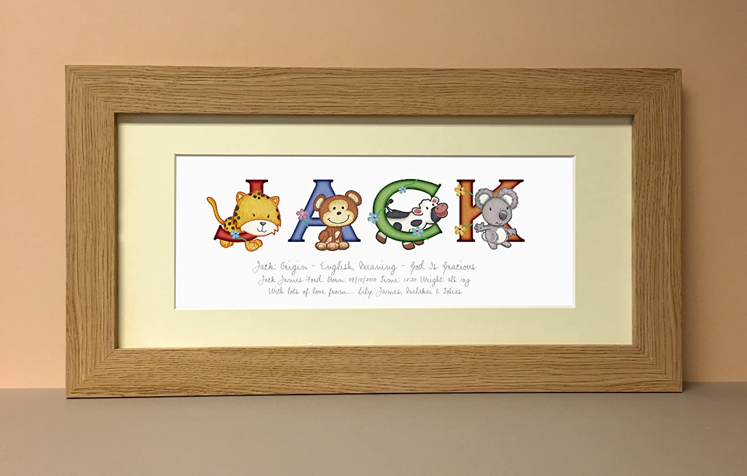 Personalised name print baby name gifts amazon baby animal adventures medium framed name print stained frame negle Choice Image