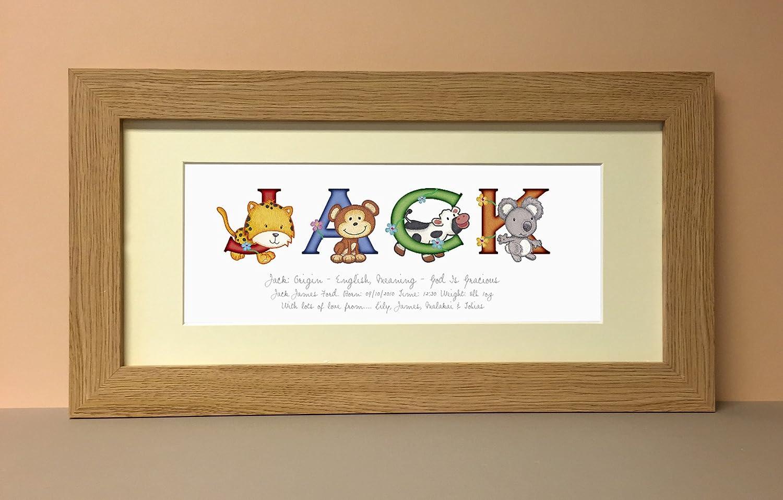 Animal Adventures Medium Framed Name Print (stained frame) Frame My Name