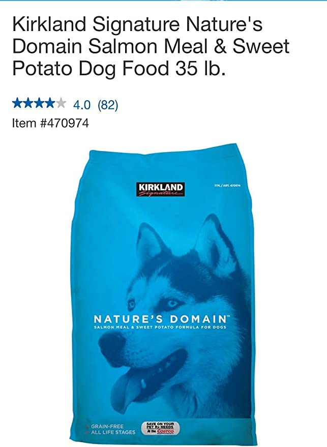 Kirkland Natures Domain Grain Free All Life Stages Salmon Meal Sweet Potato Formula For Dogs 35 Lb
