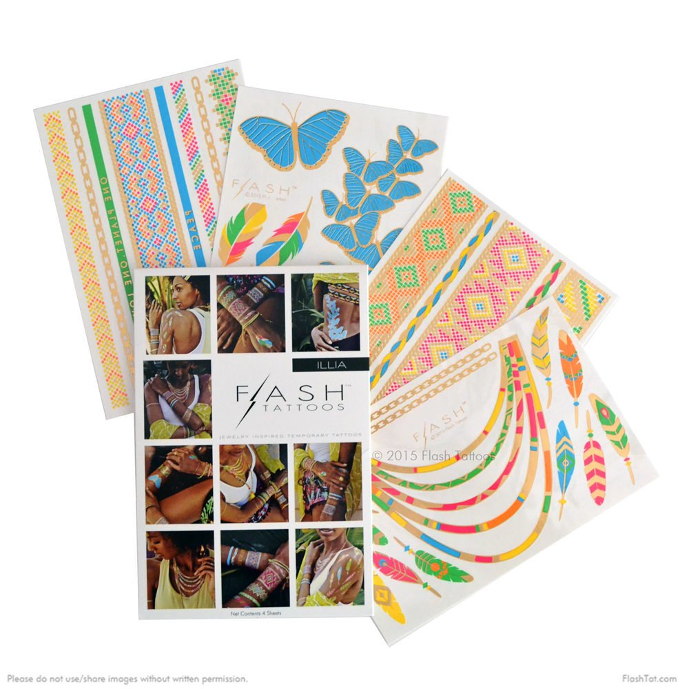 COLOR ME PRETTY BUNDLE includes Flash Tattoos festival-inspired Beautiful Eyes Variety Set (25 tats) and neon rainforest inspired Illia 4-sheet pack by Flash Tattoos (Image #4)