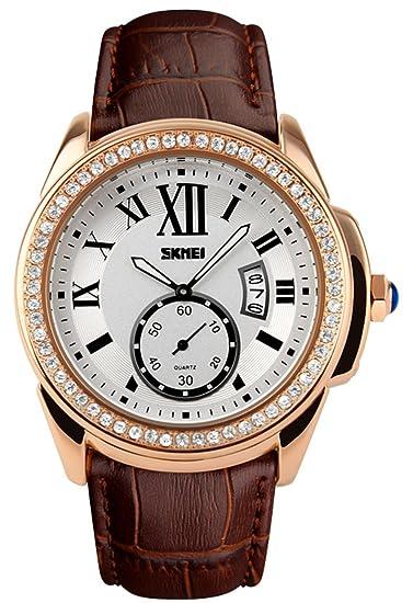 Fanmis mujeres Rhinestone cuarzo reloj Casual relojes café de piel resistente al agua relojes de pulsera: Amazon.es: Relojes
