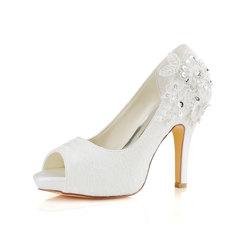 Emily Bridal Chaussures de Mariée Chaussures de Mariage en Dentelle Ivoire Dentelle Peep Toe Chaussures de Mariée à Talons Hauts