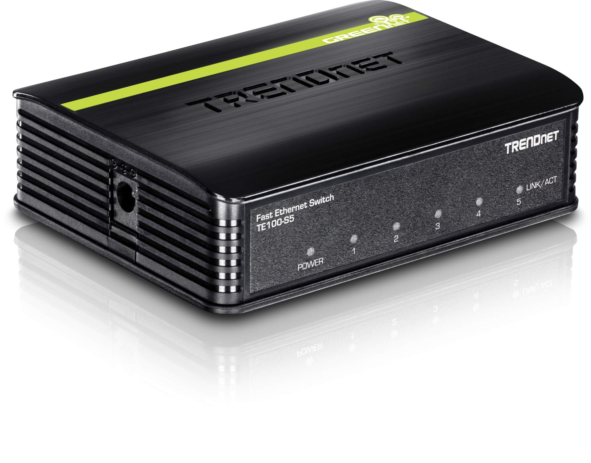 TRENDnet 5-Port Unmanaged 10/100 Mbps GREENnet Ethernet Desktop Plastic Housing Switch, 5 X 10/100 Mbps Ports, 1Gbps Switching Capacity, TE100-S5 by TRENDnet